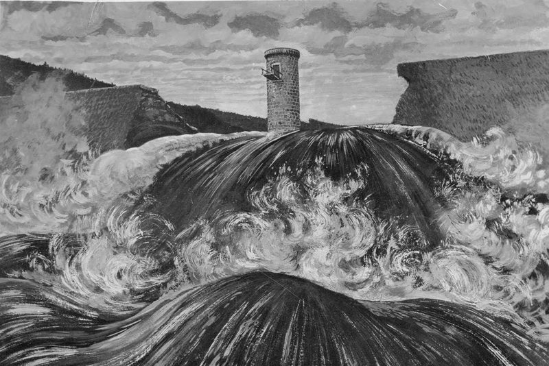 Protržená přehrada v Jizerských horách na historickém obrázku v době katastrofy - voda se valí poničenou hrází