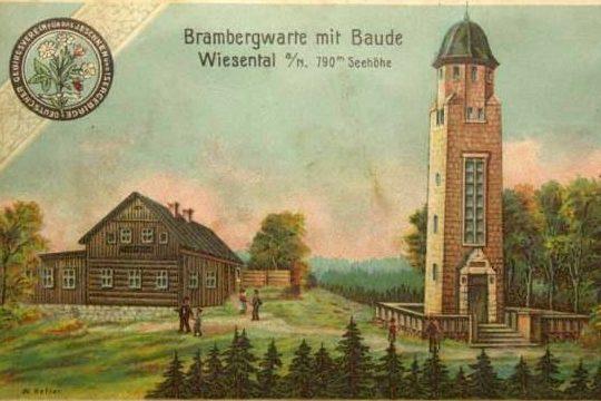 Původní vzhled chaty a rozhledny Bramberk  (Jablonecko) - historická pohlednice
