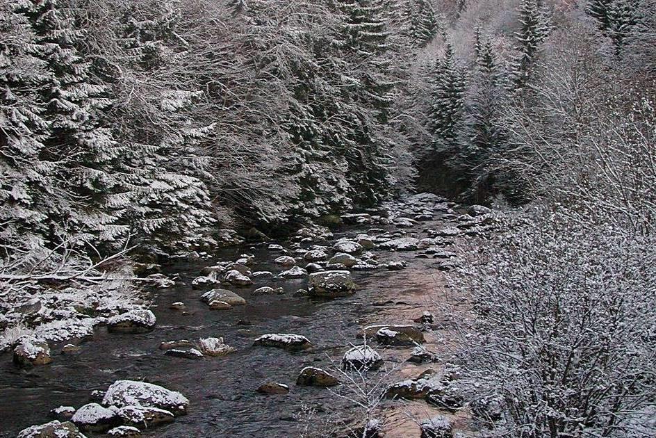 Řeka Jizera na počátku toku v zimě