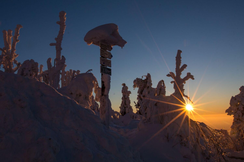 Zasněžený turistický rozcestník při východu slunce - Liberecký kraj