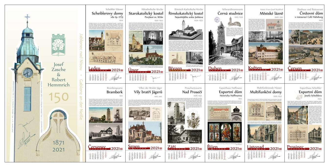 Kalendář na rok 2021 k výročím architektů Zasche a Hemmrich s významnými stavbami Jablonce a okolí.