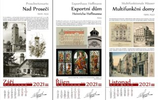 Náhled 3 listů kalendáře na rok 2021 k výročím architektů Zasche a Hemmrich s významnými stavbami Jablonce a okolí