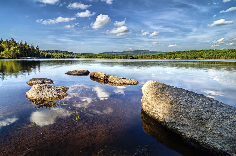 Kameny a tmavá voda z rašeliny v přehradě Bedřichov na Černé Nise - Jizerské hory