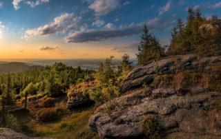 Západ slunce na vyhlídce Ptačí kupy - Jizerské hory