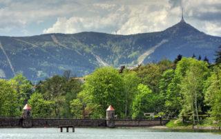 Letecký pohledna přehradu Harcov - Liberec.
