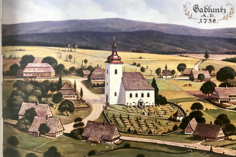 Dobový obrázek - idealizovaný obraz kostela svaté Anny a hřbitov v Jablonci nad Nisou