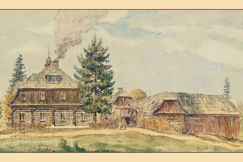 Kresba Josefa Václava Scheybala - Nová Louka - historický pohled