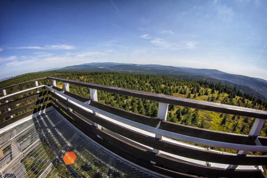 Výhled na zelené Jizerské hory z rozhledny Smrk