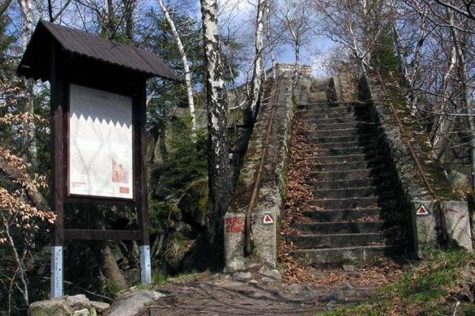 Stojan s turistickou mapou a kamenné schody na skalní vyhlídku Terezínka nad městem Tanvald.