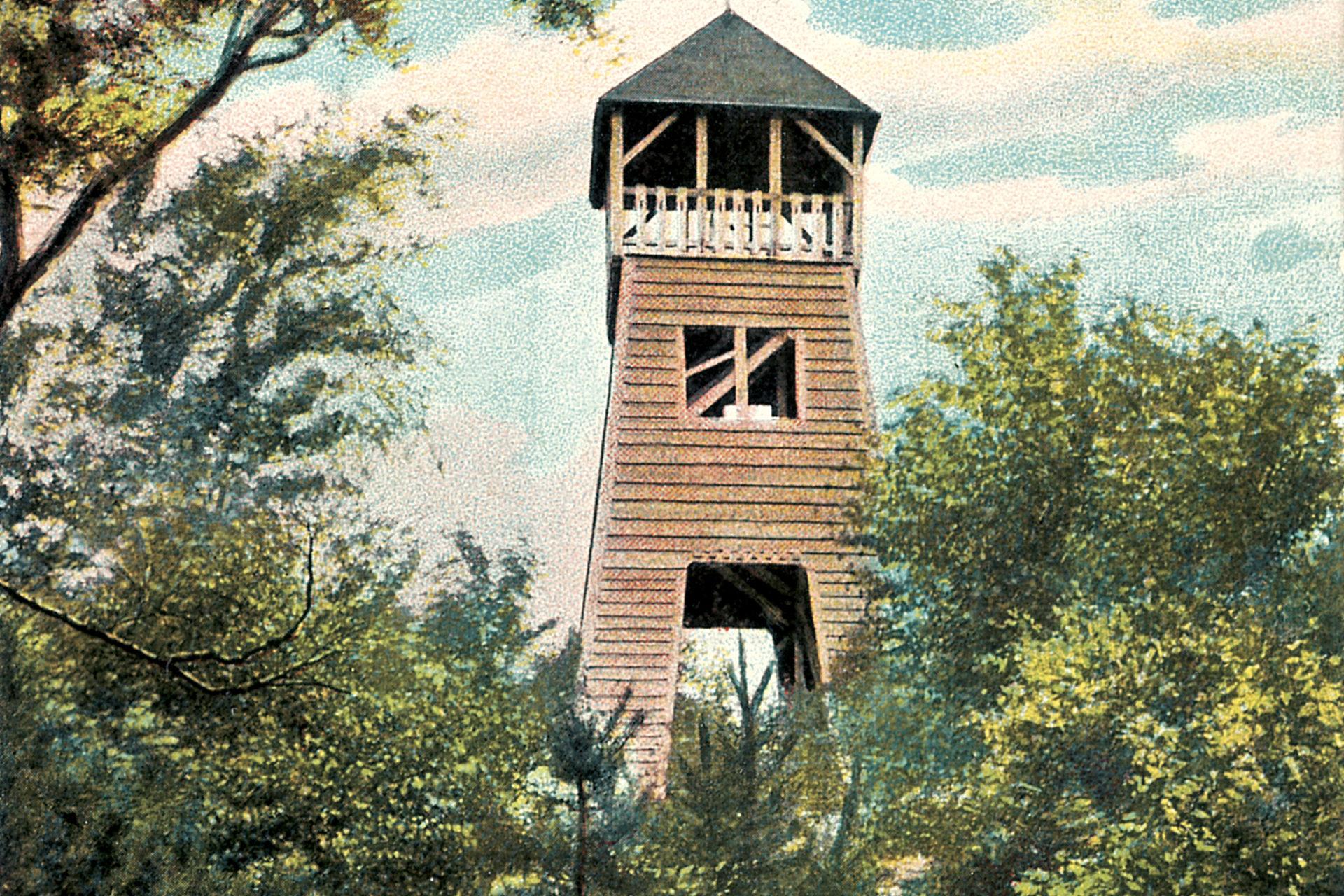 Původní dřevěná rozhledna nad Prosečí - Jablonec nad Nisou