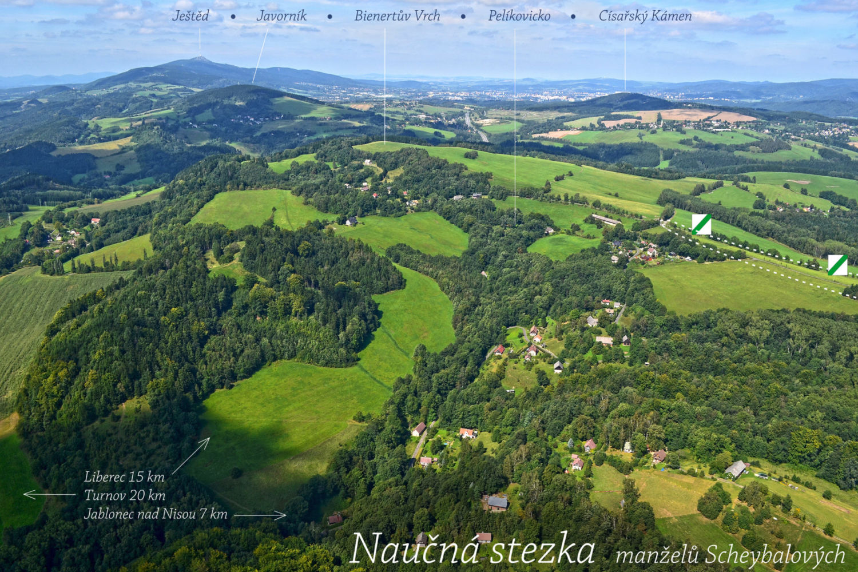 Letecký pohled na krajinu naučné stezky národopisců Jany a Josefa V. Scheybalových vedoucí z Jablonce do Českého ráje