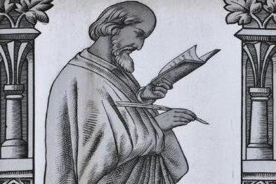 Jan Hus vyobrazený na vitráži v kostele Dr. Farského v Jablonci nad Nisou